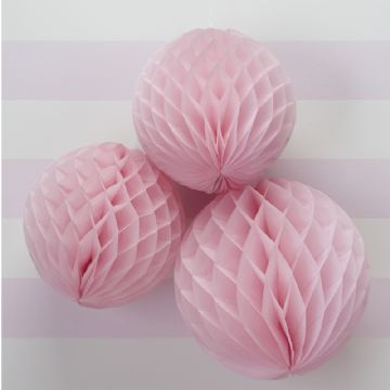 Pastel Pink Honeycomb Balls - pack of 3